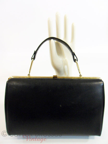 50s/60s Black Leather Frame Purse