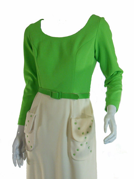 60s/70s Lime Green Maxi - close
