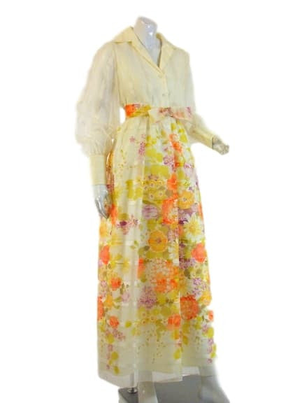 70s Floral Long Sleeve Maxi Dress - med