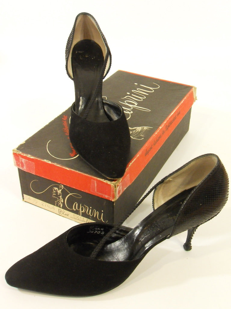 1950s Caprini stilletos in black snakeskin