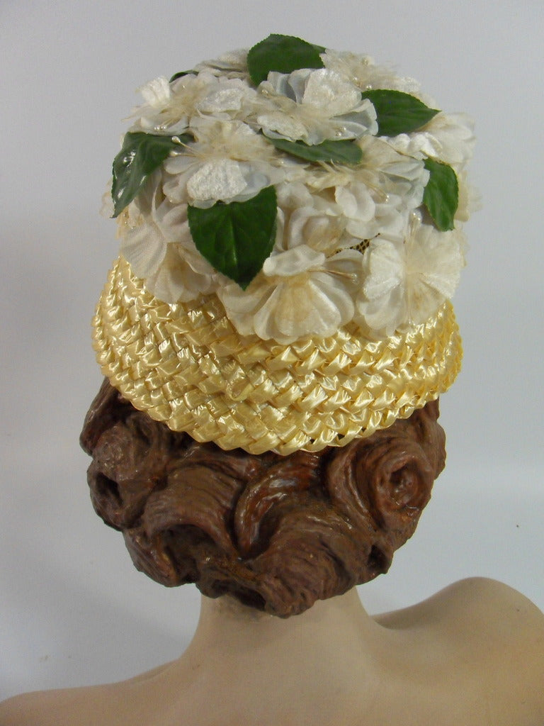 Vintage 60s Straw Bucket Cloche Hat Yellow Flowers A Dianne Style