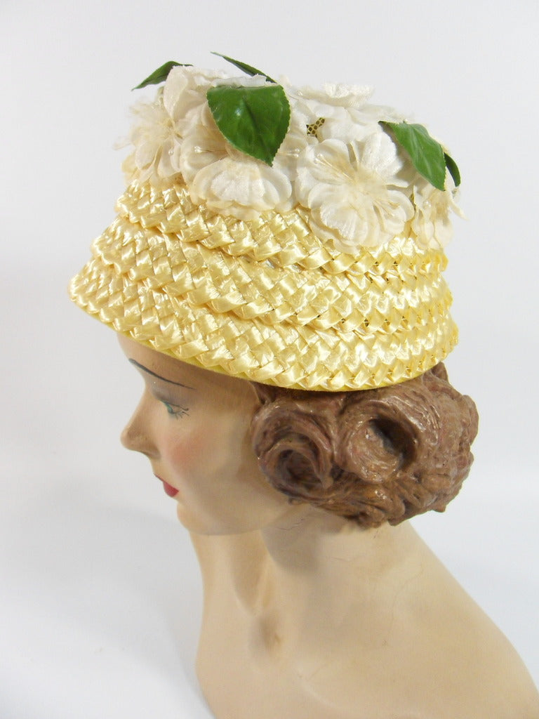 A Dianne Style cloche bucket straw hat at Better Dresses Vintage. left side