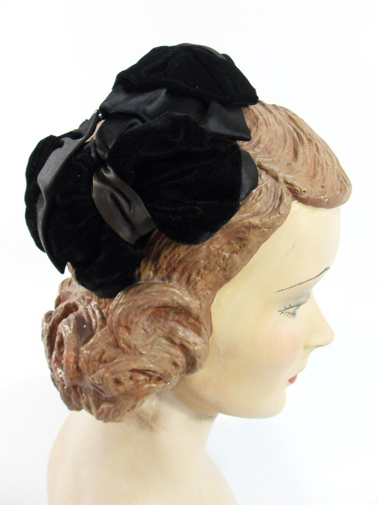 50s Black Velvet and Satin Cocktail Hat