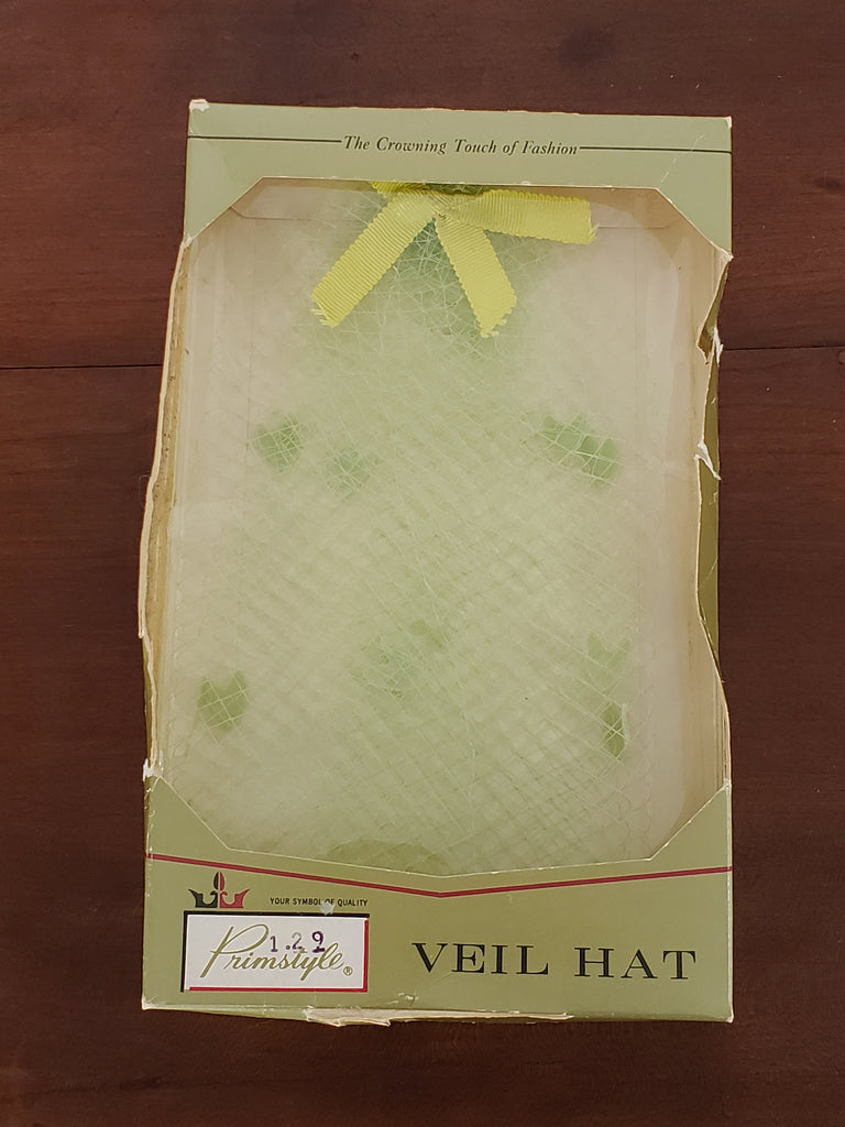 NOS 60s Lime Green Veil Hat in Original Box