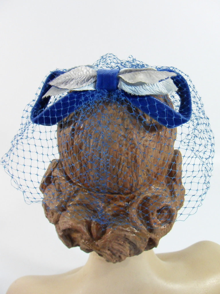 50s/60s Blue Velvet Veil Cocktail Hat