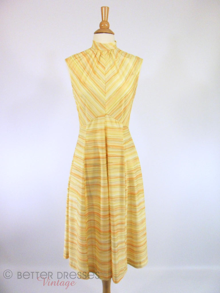 70s Yellow Chevron Striped Day Dress - sm