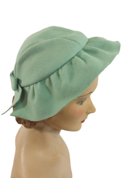 30s Hat in Aqua Wool Felt