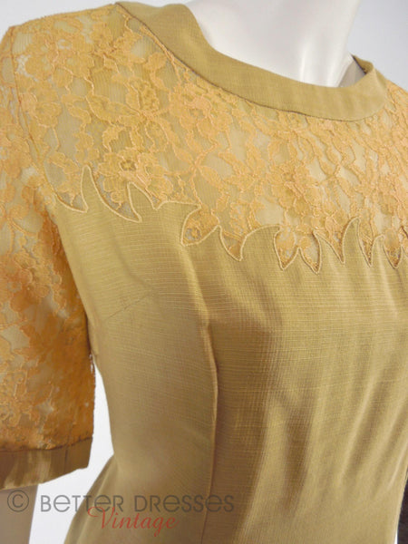 60s Golden Taupe With Lace Dress - detail