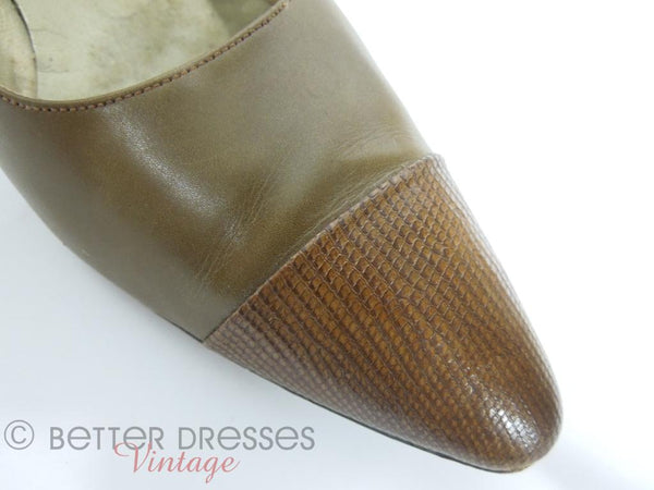 50s Palizzio Brown Leather and Lizard Pumps at Better Dresses Vintage - toe cap