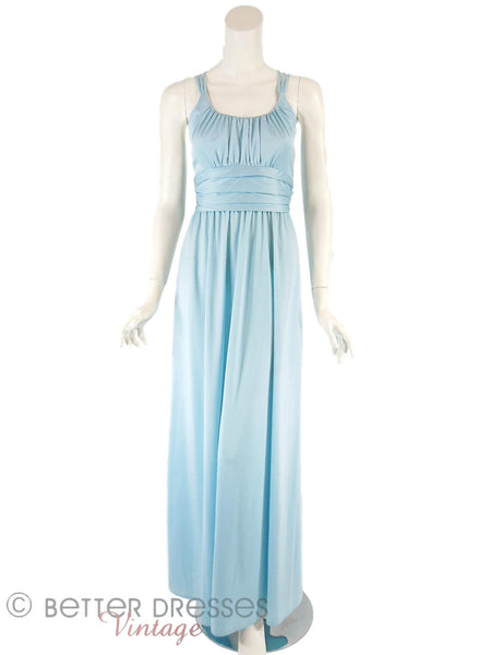 70s Slinky Blue Maxi Dress - front full view