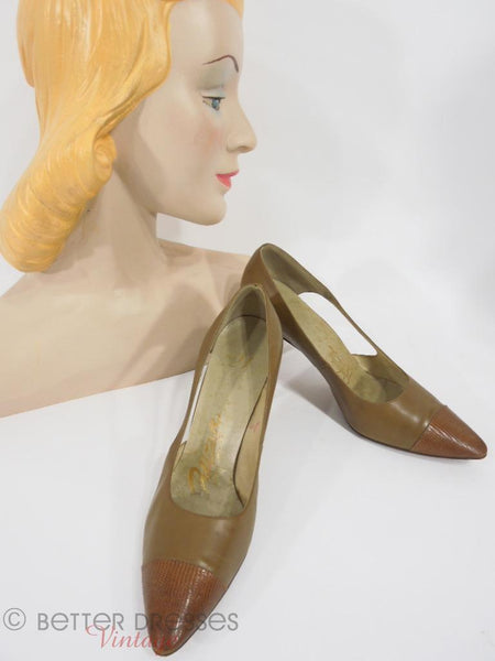 50s Palizzio Brown Leather and Lizard Pumps at Better Dresses Vintage