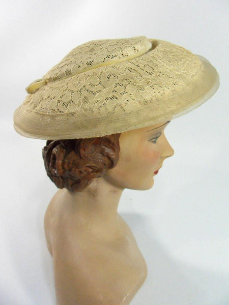 Vintage 1940s 1950s Hat Taupe Lace New Look Pancake