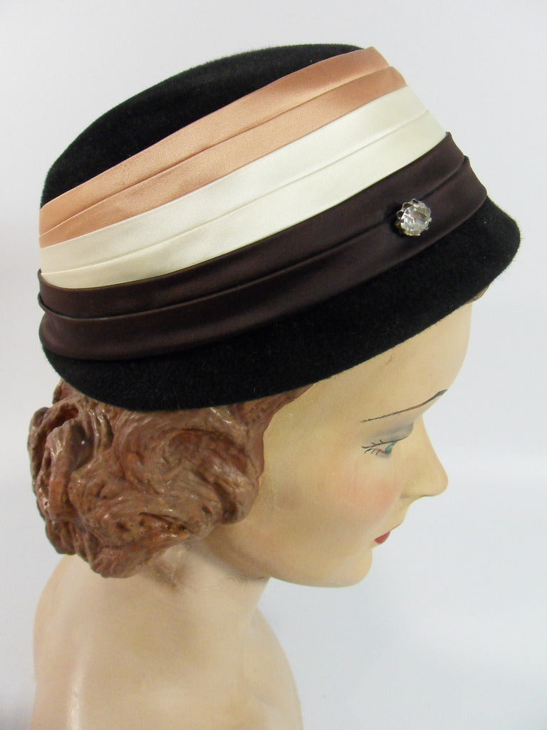 60s Black Wool Cloche Hat With Satin Bands