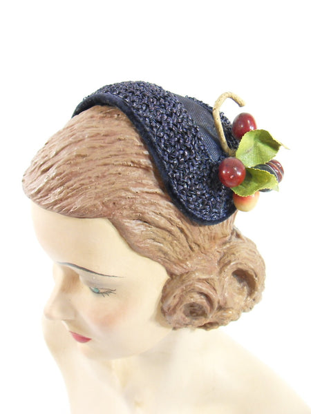 Vintage 50s Headband Cocktail Hat With Cherries Black Or
