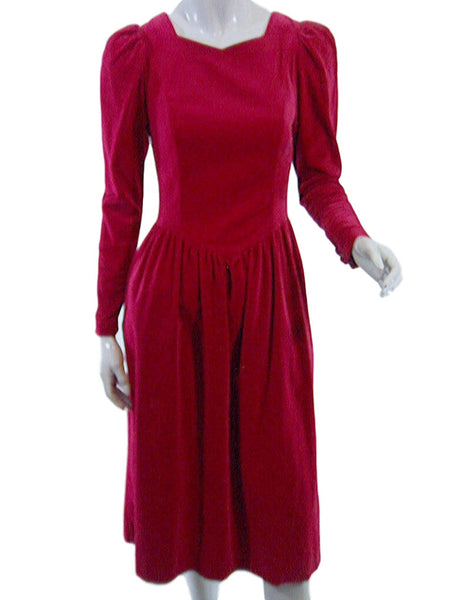 80s Laura Ashley Raspberry Velvet Party Dress