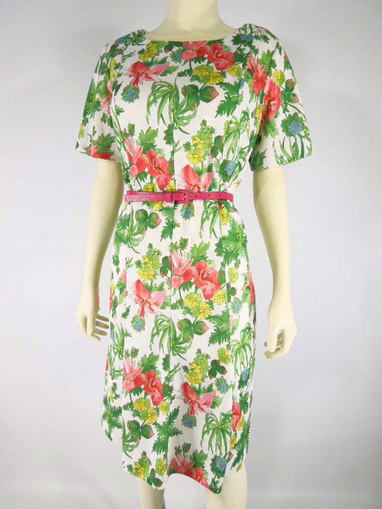 60s/70s Bright Floral Dress - front
