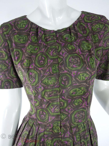 60s Olive Print Day Dress - close