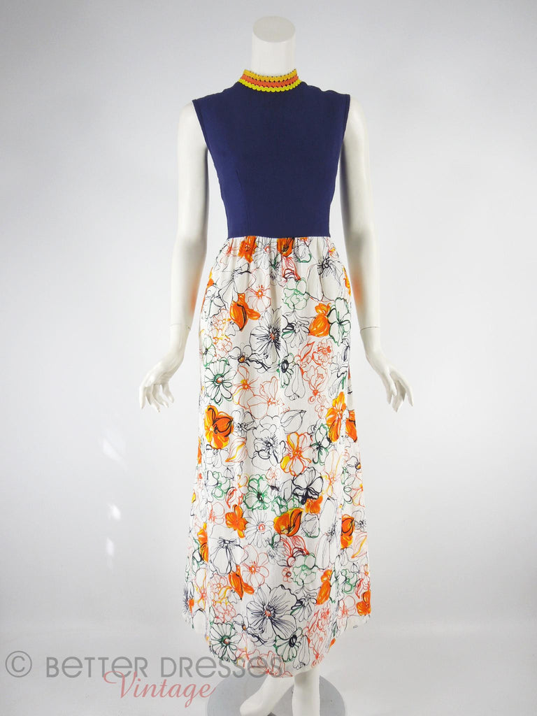 70s Navy & Floral Cotton Maxi Dress - front