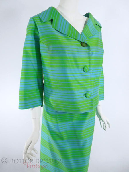 Vtg 60s Blue & Green Striped Skirt Suit - angle