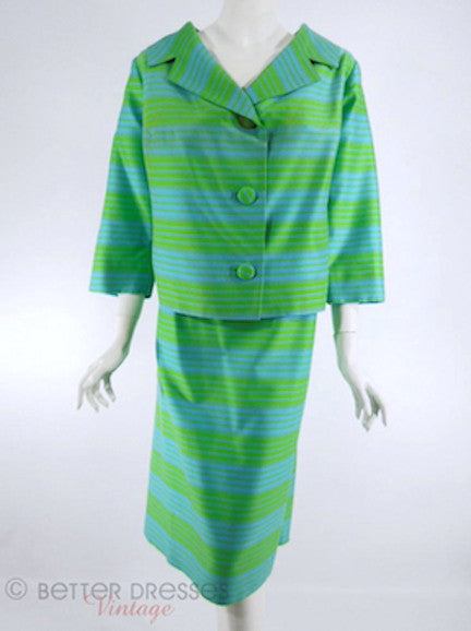 Vtg 60s Blue & Green Striped Skirt Suit - front