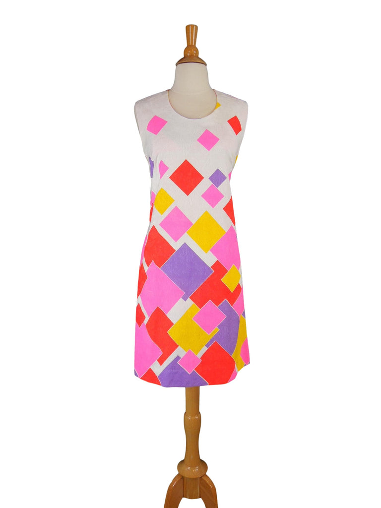 60s/70s Hawaiian Bright Shift Dress - sm, med