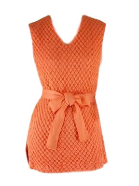 60s Peach Belted Mini Dress