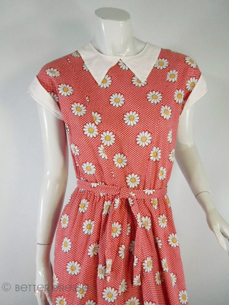 Soviet-era red daisy print day dress at Better Dresses Vintage. Close view.
