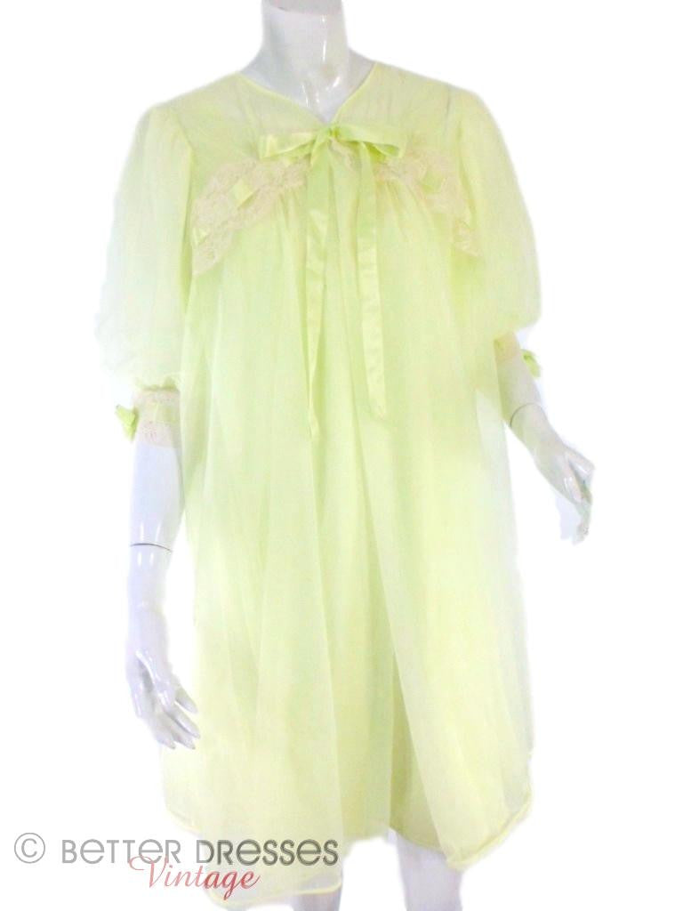 60s Double Nylon Lime Green Peignoir Set - sm