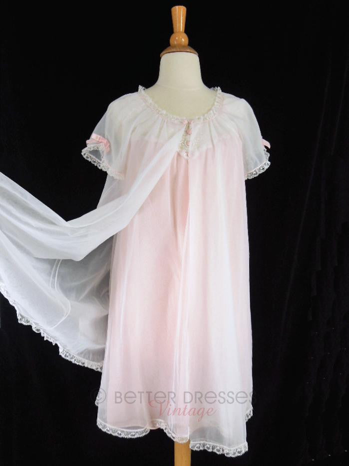 60s/70s Double Nylon Peignoir Set in Pink