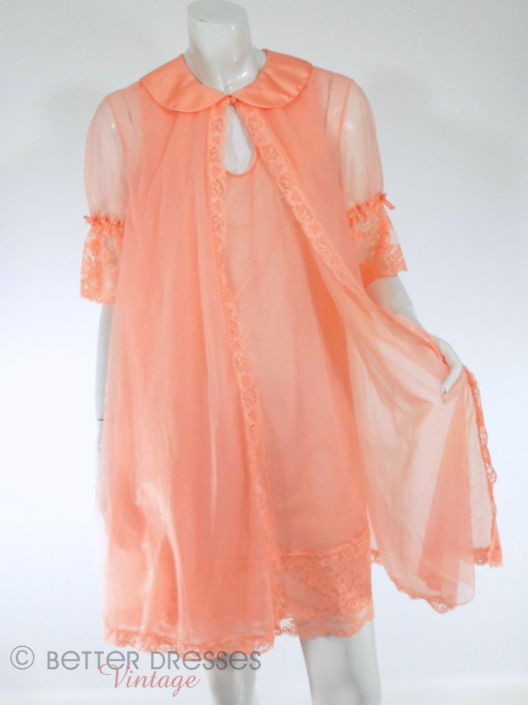 60s Double Nylon Peach Peignoir Set by Vanity Fair