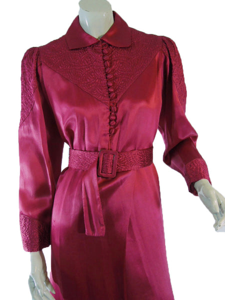 30s Dressing Gown in Raspberry Silk - med