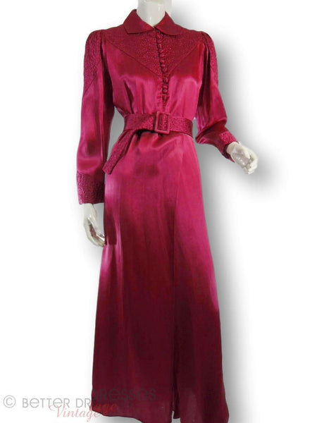 Vintage 30s Silk Dressing Gown Raspberry Robe Hollywood