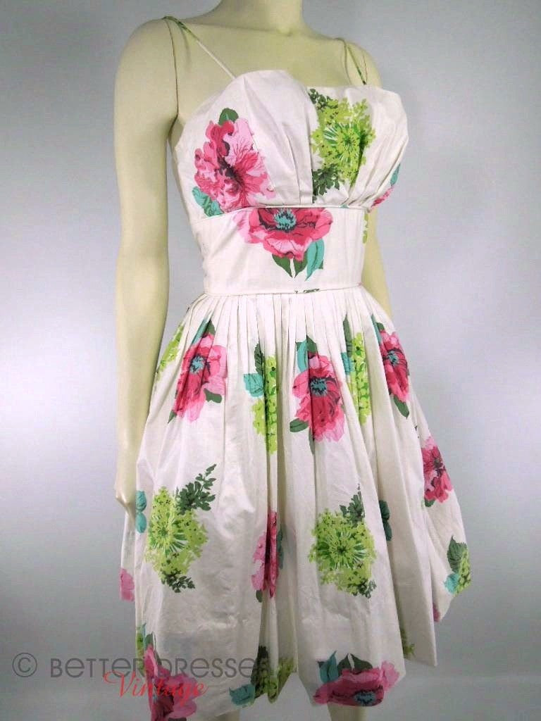 50s Floral Sundress With Shelf Bust and Full Skirt at Better Dresses Vintage