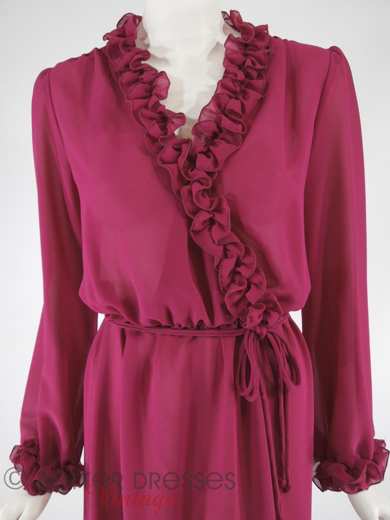 70s/80s Ruffle Cross-Front Dress - close view