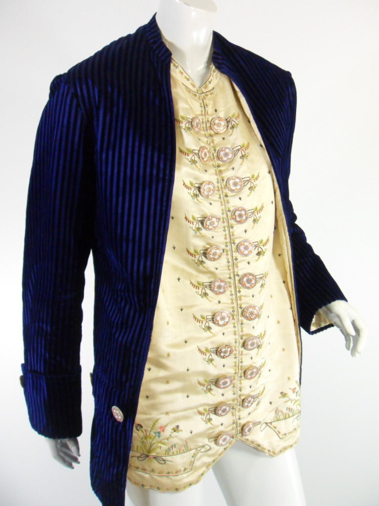 Victorian Velvet and Embroidered Silk Jacket With 18th Century Hand-Painted Porcelain buttons at Better Dresses Vintage.