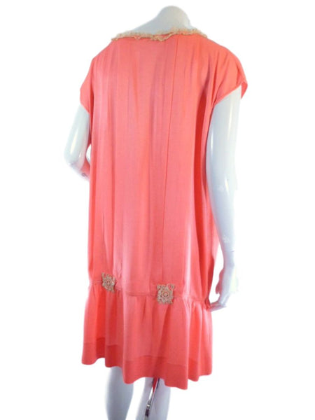 20s Silk Chemise Dress in Peach - back view