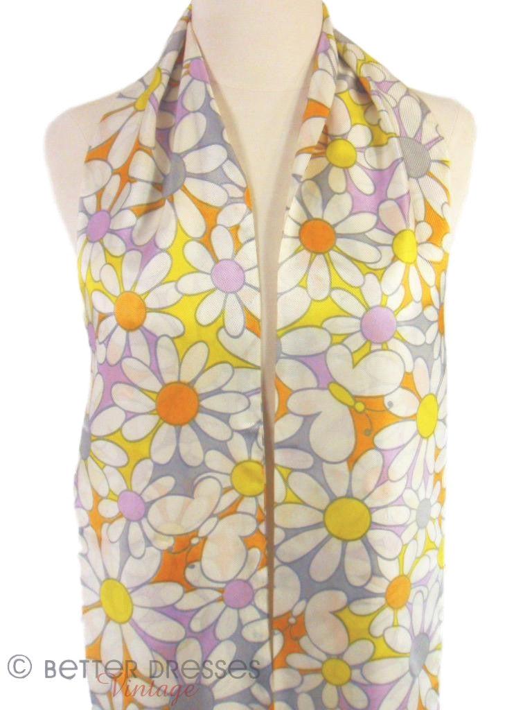 60s/70s Flower Power Scarf - close view