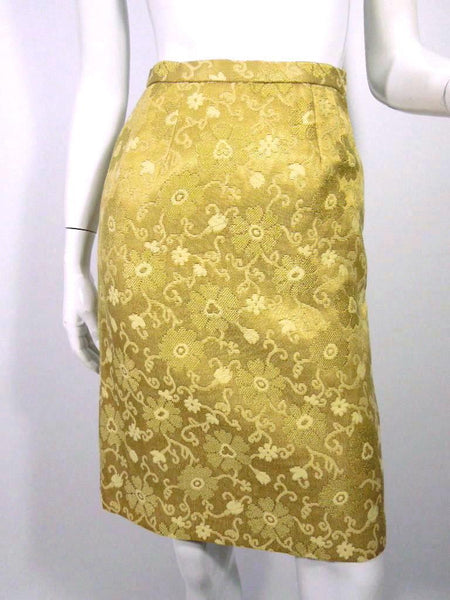 50s/60s Pencil Skirt in Gold Brocade - sm