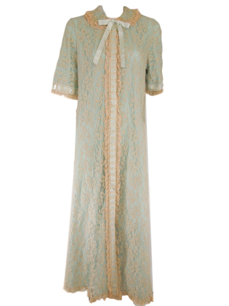 Vintage 50s Dressing Gown in Light Blue Nylon Lace by Odette Barsa ...
