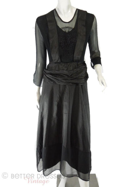 10s Antique Black Silk Beaded Dress