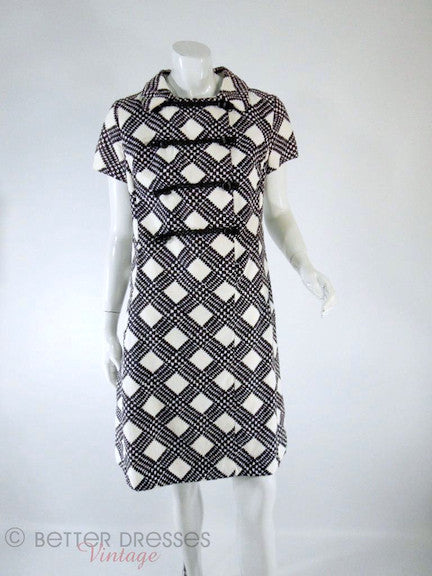 60s Suzy Perette Black & White Mod Shift - front