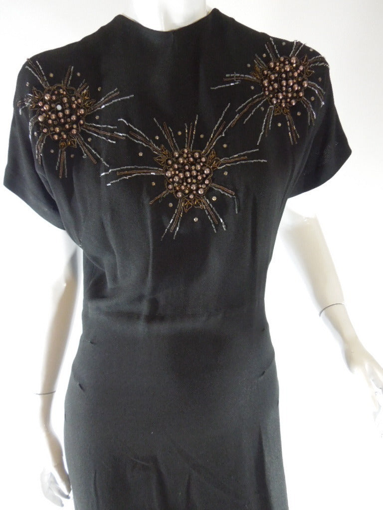 40s Beaded Rayon Dress
