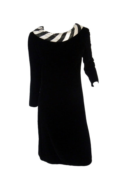 60s Mod Black Long Sleeve Dress