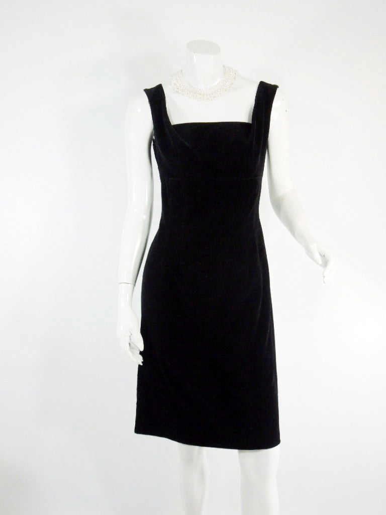 50s/60s Little Black Velvet Cocktail Dress by Tabak