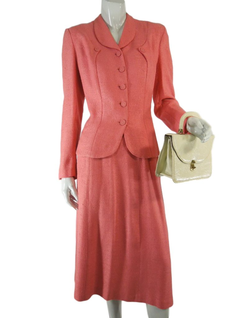40s Lampl Salmon Pink Skirt Suit