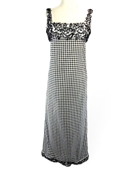 60s Mod Gingham Maxi Dress With Beading