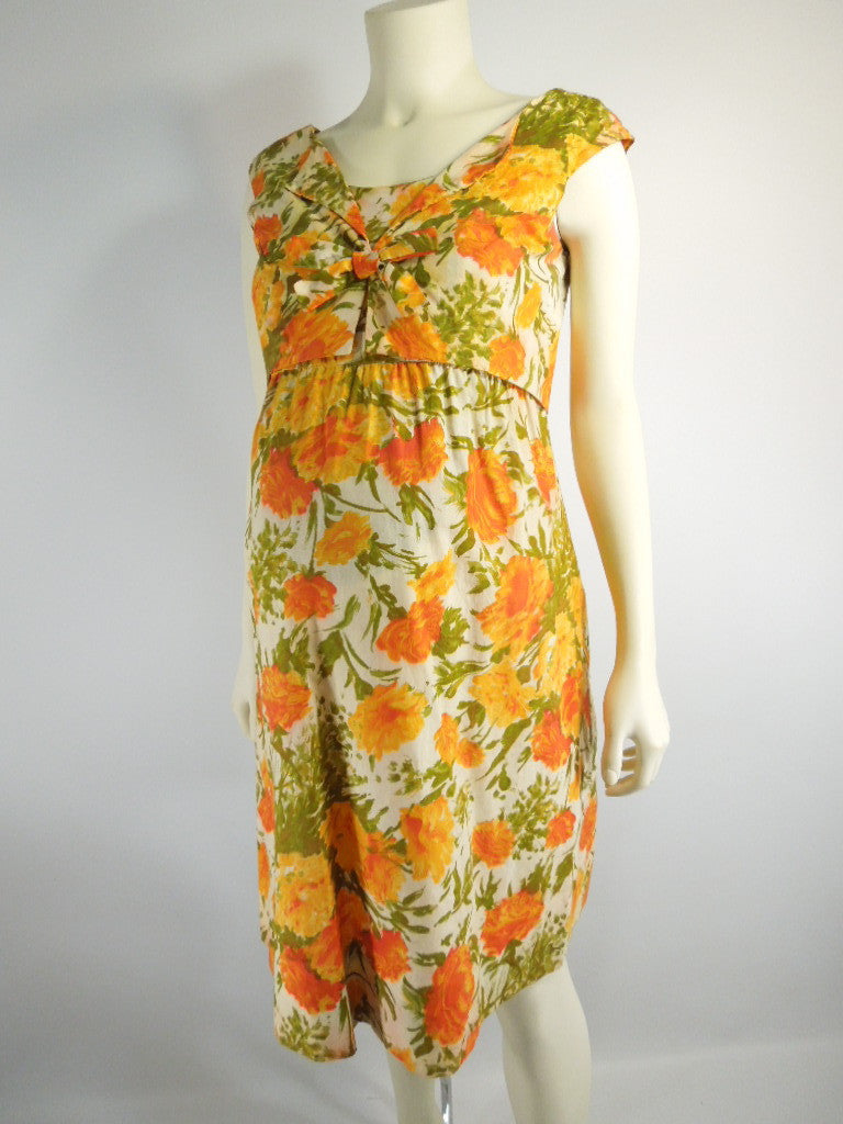 Vintage 50s 60s maternity dress shift orange floral by ma mere 50s60s maternity dress orange floral shift by ma mere ombrellifo Images