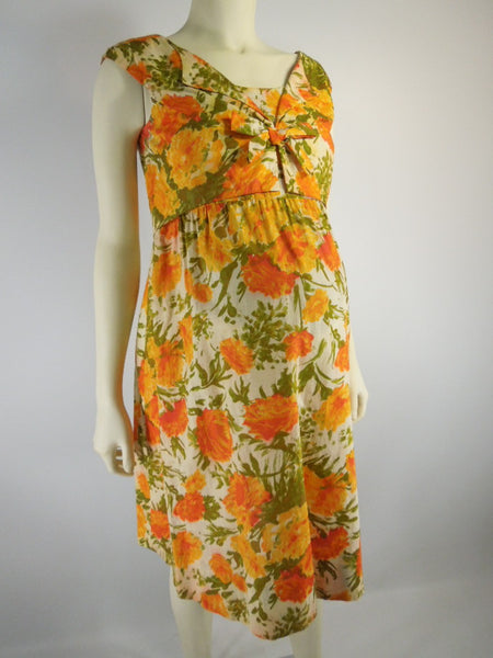 Vintage 50s 60s Maternity Dress Shift Orange Floral By Ma