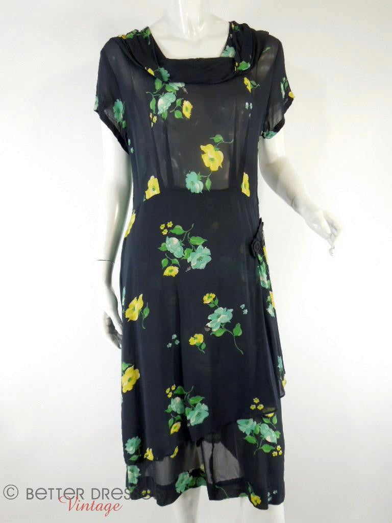 1930s to 40s black rayon day dress with yellow and green roses at Better Dresses Vintage. Full view.