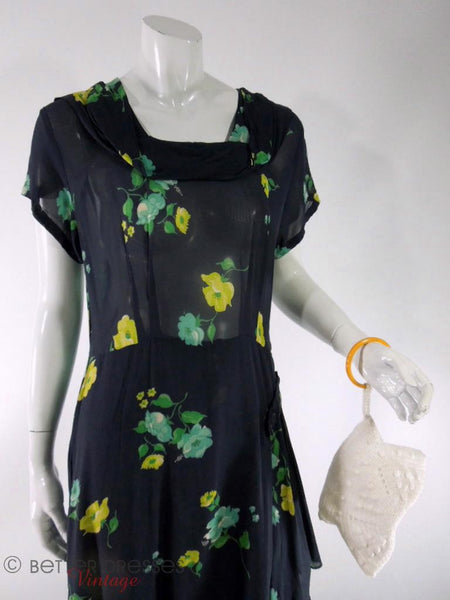 1930s to 40s black rayon day dress with yellow and green roses at Better Dresses Vintage. Close with purse.